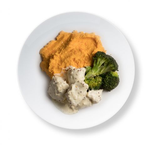 Honey Mustard Chicken with Root Veg Puree and Broccoli