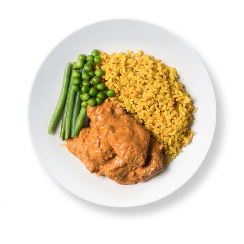 Butter Chicken with Turmeric Rice and Greens