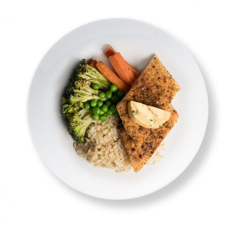 Herb Baked Dory with Quinoa Brown Rice, Vegetables and Café de Paris