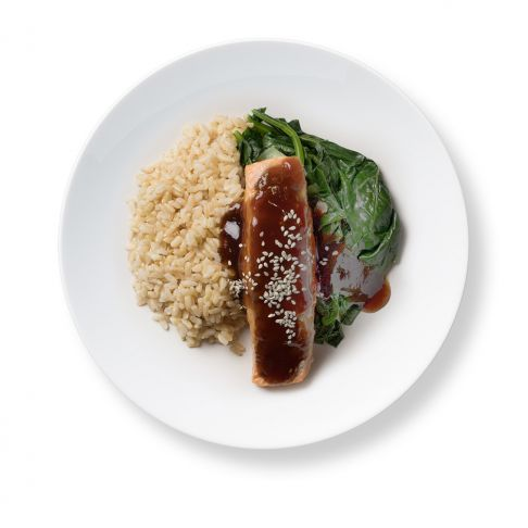 Salmon Teriyaki with Brown Rice and Asian Greens