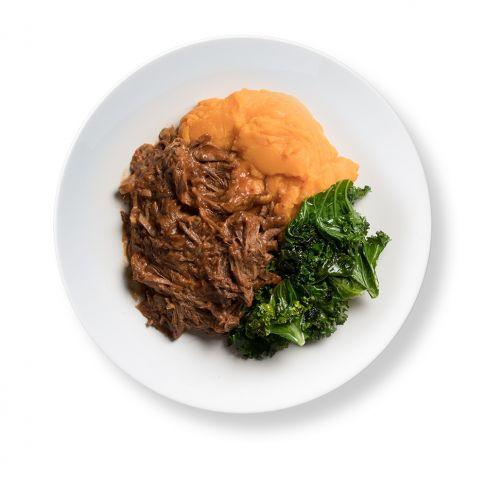 Texas BBQ Pulled Beef with Sweet Potato and Sautéed Kale