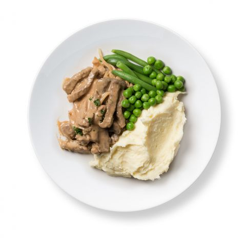 Beef Stroganoff with Mashed Potato and Greens