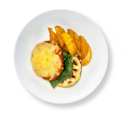 Naked Beef Burger with Potato Wedges