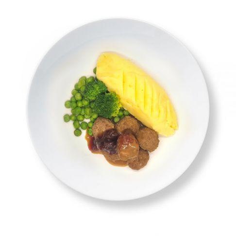Swedish Meatballs with Mash Potato & Vegetables